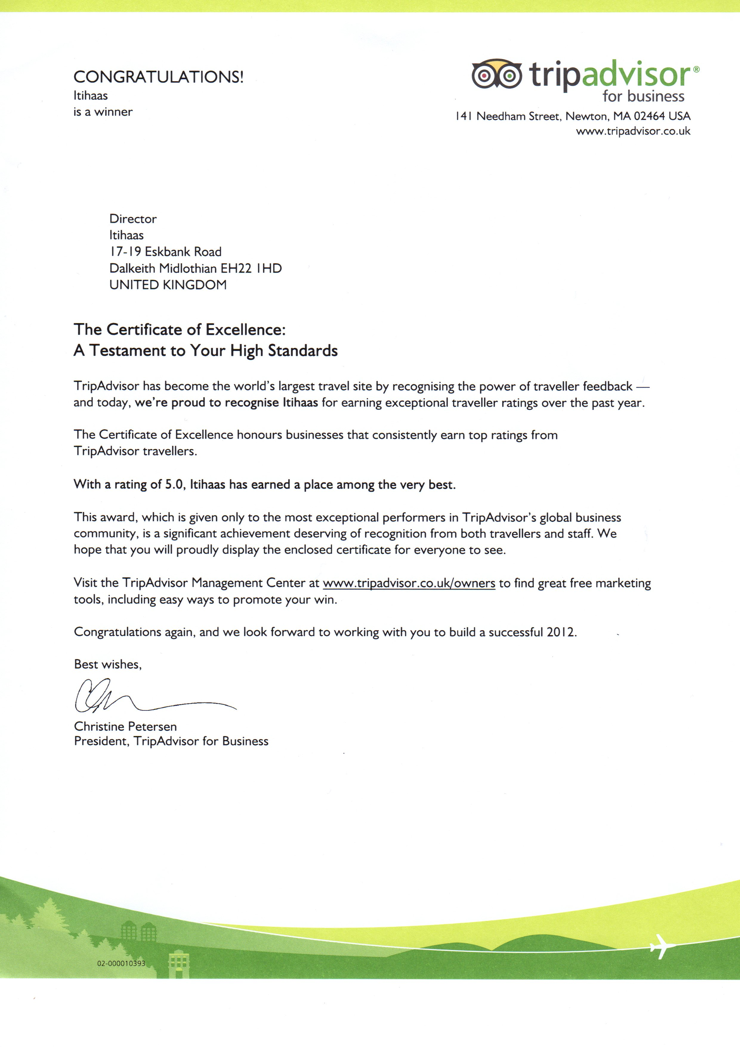 Our Latest Award Certificate And Letter From Trip Advisor
